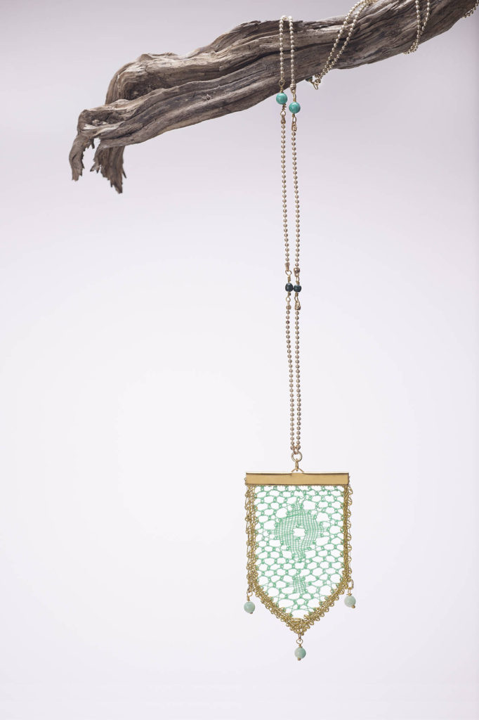 Ariadne's Thread – Spring Green Necklace – Bobbin Lace Jewellery – web res